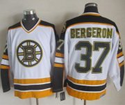 Wholesale Cheap Bruins #37 Patrice Bergeron White/Black CCM Throwback Stitched NHL Jersey