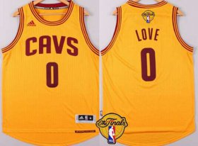 Wholesale Cheap Men\'s Cleveland Cavaliers #0 Kevin Love 2015 The Finals New Yellow Jersey