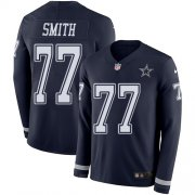 Wholesale Cheap Nike Cowboys #77 Tyron Smith Navy Blue Team Color Men's Stitched NFL Limited Therma Long Sleeve Jersey