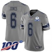 Wholesale Cheap Nike Cowboys #6 Chris Jones Gray Men's Stitched With Established In 1960 Patch NFL Limited Inverted Legend 100th Season Jersey