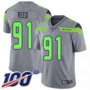 Wholesale Cheap Nike Seahawks #91 Jarran Reed Gray Youth Stitched NFL Limited Inverted Legend 100th Season Jersey