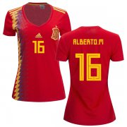 Wholesale Cheap Women's Spain #16 Alberto M. Red Home Soccer Country Jersey
