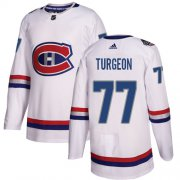 Wholesale Cheap Adidas Canadiens #77 Pierre Turgeon White Authentic 2017 100 Classic Stitched NHL Jersey