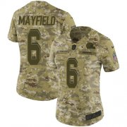 Wholesale Cheap Nike Browns #6 Baker Mayfield Camo Women's Stitched NFL Limited 2018 Salute to Service Jersey