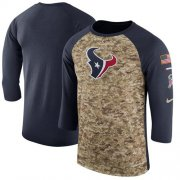 Wholesale Cheap Men's Houston Texans Nike Camo Navy Salute to Service Sideline Legend Performance Three-Quarter Sleeve T-Shirt