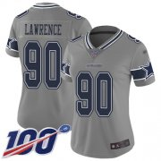 Wholesale Cheap Nike Cowboys #90 Demarcus Lawrence Gray Women's Stitched NFL Limited Inverted Legend 100th Season Jersey