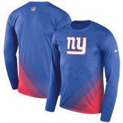 Wholesale Cheap Men's New York Giants Nike Royal Sideline Legend Prism Performance Long Sleeve T-Shirt