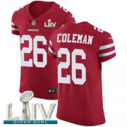 Wholesale Cheap Nike 49ers #26 Tevin Coleman Red Super Bowl LIV 2020 Team Color Men's Stitched NFL Vapor Untouchable Elite Jersey