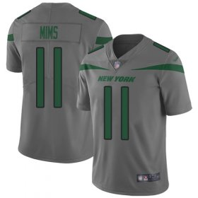 Wholesale Cheap Nike Jets #11 Denzel Mim Gray Youth Stitched NFL Limited Inverted Legend Jersey