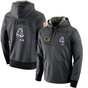 Wholesale Cheap NFL Men's Nike Green Bay Packers #4 Brett Favre Stitched Black Anthracite Salute to Service Player Performance Hoodie