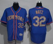 Wholesale Cheap Mets #32 Steven Matz Blue(Grey NO.) Flexbase Authentic Collection Stitched MLB Jersey