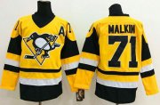 Wholesale Cheap Penguins #71 Evgeni Malkin Yellow Throwback Stitched NHL Jersey