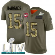 Wholesale Cheap Kansas City Chiefs #15 Patrick Mahomes Men's Nike 2019 Olive Camo Super Bowl LIV 2020 Salute To Service Limited NFL Jersey