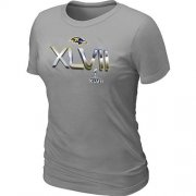 Wholesale Cheap Women's Baltimore Ravens 2012 Super Bowl XLVII On Our Way T-Shirt Light Grey
