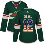 Wholesale Cheap Adidas Wild #12 Eric Staal Green Home Authentic USA Flag Women's Stitched NHL Jersey
