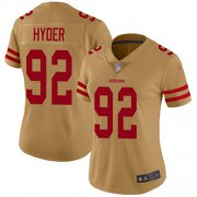 Wholesale Cheap Nike 49ers #92 Kerry Hyder Gold Women's Stitched NFL Limited Inverted Legend Jersey