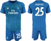 Wholesale Cheap Real Madrid #25 Courtois Blue Goalkeeper Soccer Club Jersey