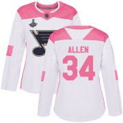 Wholesale Cheap Adidas Blues #34 Jake Allen White/Pink Authentic Fashion Stanley Cup Champions Women's Stitched NHL Jersey