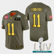 Wholesale Cheap Kansas City Chiefs #11 Demarcus Robinson Men's Nike Olive Gold Super Bowl LIV 2020 2019 Salute to Service Limited NFL 100 Jersey