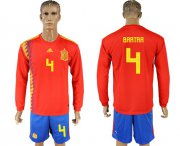 Wholesale Cheap Spain #4 Bartra Red Home Long Sleeves Soccer Country Jersey
