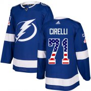 Cheap Adidas Lightning #71 Anthony Cirelli Blue Home Authentic USA Flag Stitched NHL Jersey