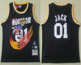 Wholesale Cheap Travis Scott X Br X Mitchell Ness Houston Rockets #01 Jack Black Basketball Swingman Stitched Throwback Jersey