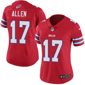 Wholesale Cheap Nike Bills #17 Josh Allen Red Women\'s Stitched NFL Limited Rush Jersey