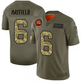 Wholesale Cheap Cleveland Browns #6 Baker Mayfield Men\'s Nike 2019 Olive Camo Salute To Service Limited NFL Jersey
