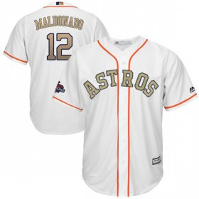 Wholesale Cheap Astros #12 Martin Maldonado White 2018 Gold Program Cool Base Stitched MLB Jersey