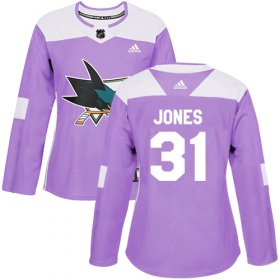 Wholesale Cheap Adidas Sharks #31 Martin Jones Purple Authentic Fights Cancer Women\'s Stitched NHL Jersey