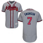 Wholesale Cheap Braves #7 Dansby Swanson Grey Flexbase Authentic Collection Stitched MLB Jersey