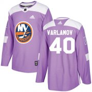 Wholesale Cheap Adidas Islanders #40 Semyon Varlamov Purple Authentic Fights Cancer Stitched Youth NHL Jersey