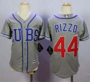 Wholesale Cheap Cubs #44 Anthony Rizzo Grey Alternate Road Cool Base Stitched Youth MLB Jersey