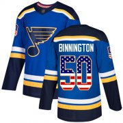 Wholesale Cheap Adidas Blues #50 Jordan Binnington Blue Home Authentic USA Flag Stitched NHL Jersey