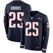 Wholesale Cheap Nike Patriots #25 Terrence Brooks Navy Blue Team Color Men's Stitched NFL Limited Therma Long Sleeve Jersey