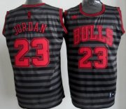 Wholesale Cheap Chicago Bulls #23 Michael Jordan Gray With Black Pinstripe Jersey