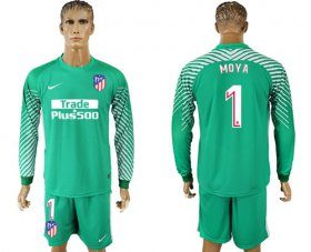Wholesale Cheap Atletico Madrid #1 Moya Green Goalkeeper Long Sleeves Soccer Club Jersey