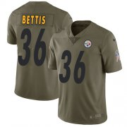 Wholesale Cheap Nike Steelers #36 Jerome Bettis Olive Youth Stitched NFL Limited 2017 Salute to Service Jersey