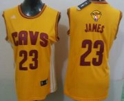 Wholesale Cheap Women's Cleveland Cavaliers #23 LeBron James Yellow 2016 The NBA Finals Patch Jersey