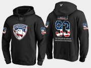 Wholesale Cheap Panthers #93 Bill Torrey NHL Banner Wave Usa Flag Black Hoodie
