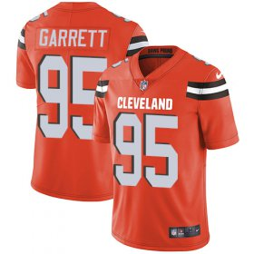Wholesale Cheap Nike Browns #95 Myles Garrett Orange Alternate Youth Stitched NFL Vapor Untouchable Limited Jersey
