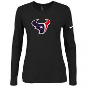 Wholesale Cheap Women's Nike Houston Texans Of The City Long Sleeve Tri-Blend NFL T-Shirt Black