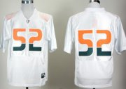 Wholesale Cheap Miami Hurricanes #52 Ray Lewis White Pro Combat College Football Jersey