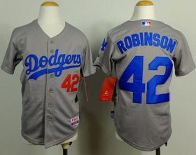 Wholesale Cheap Dodgers #42 Jackie Robinson Grey Cool Base Stitched Youth MLB Jersey