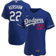 Wholesale Cheap Los Angeles Dodgers #22 Clayton Kershaw Men's Nike Royal Alternate 2020 Authentic Player MLB Jersey