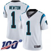 Wholesale Cheap Nike Panthers #1 Cam Newton White Youth Stitched NFL 100th Season Vapor Limited Jersey