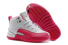 Wholesale Cheap Kids Air Jordan 12 Valentines day Pink/White