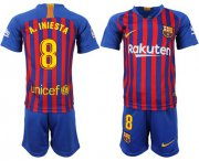 Wholesale Cheap Barcelona #8 A.Iniesta Home Kid Soccer Club Jersey
