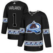 Wholesale Cheap Adidas Avalanche #1 Semyon Varlamov Black Authentic Team Logo Fashion Stitched NHL Jersey