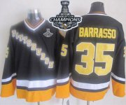 Wholesale Cheap Penguins #35 Tom Barrasso Black/Yellow CCM Throwback 2017 Stanley Cup Finals Champions Stitched NHL Jersey